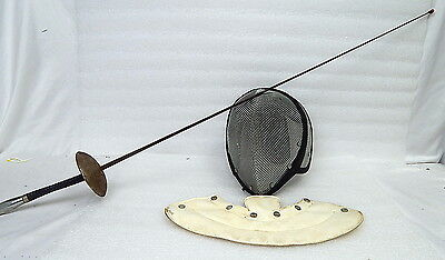 Vintage Castello Fencing Metal Mesh Face Mask, Neck Guard And Foil Sword