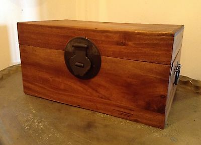 Antique Chinese Camphor Wood Dovetailed Stationery Chest Box Trunk