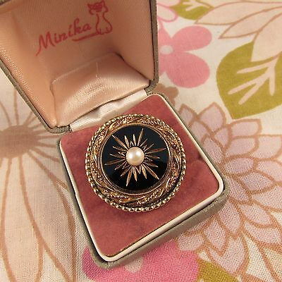 Vintage 1950s/60s Number Stamped Mourning Brooch Pin