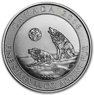 2$ 2016 Loup Hurlant Canada 3/4 once argent .9999 ounce oz silver