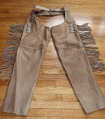 NEW HOT LEATHERS Light Brown Leather Motorcycle Chaps W/ Bone & Fringe. SZ. XL