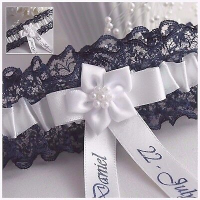 Personalised Bridal Garter. Navy Blue lace with White or Ivory satin trim.