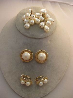 Estate Costume 3 Piece Lot Pearl Gold tone  Earrings Clip Button and Dangle