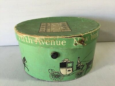 Antique Gift Hat Box Dobbs Fifth Ave Hats New York Roos Bros