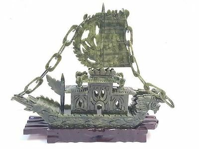 JADE SHIP Hand Carved Chinese