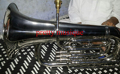 Tuba Eb Flat Largest Musical Instrument Brass Band Pure Brass In Chrome Polish