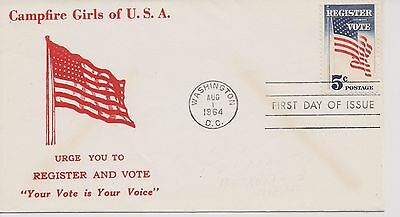 Scout Cachets - Lot 560 - Campfire Girls Register/Vote FDC 1964
