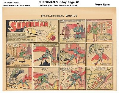 SUPERMAN SUNDAY PAGE #1 - AMAZING HIGH GRADE! - Nov 5, 1939 - RARE! - ORIGIN