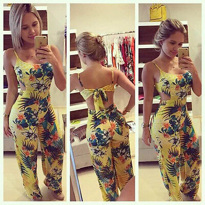 New Women Clubwear Summer Floral Playsuit Bodycon Party Jumpsuit Romper Trousers
