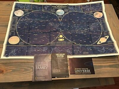 National Geographic The Heavens 1957 Map/chart W/ Bonus Space Maps Ships Fast!