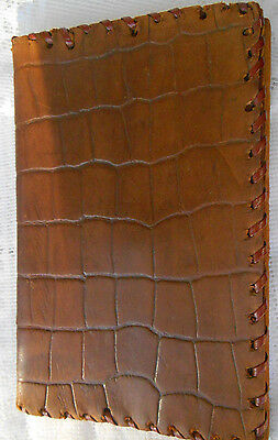 Vintage 40s Mens Genuine Crocodile Skin Tan Leather Bifold Wallet