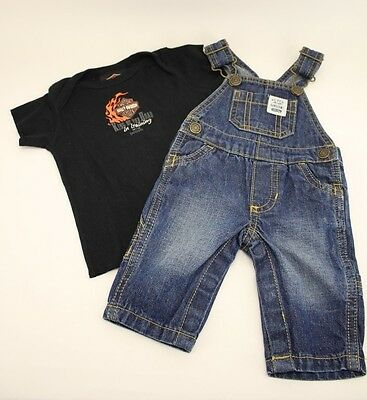 Carter's Newborn Jean Overalls and 12 Month Harley Davidson King of the Road Tee