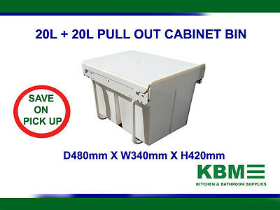 Pull Out Bin Kitchen Ball Bearing Slide with Two Waste Basket 2X20L