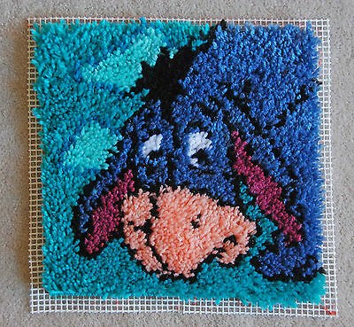 "unfinished 14"" x 14.5"" EEYORE rug/ pillow front in SOFT Acrylic yarn Blue Donkey"