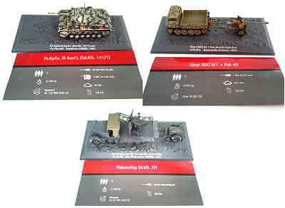 Lot Of 3 1:72 Military Wwii Tank Vehicles Panzer Diecast Gun Model Deagostini