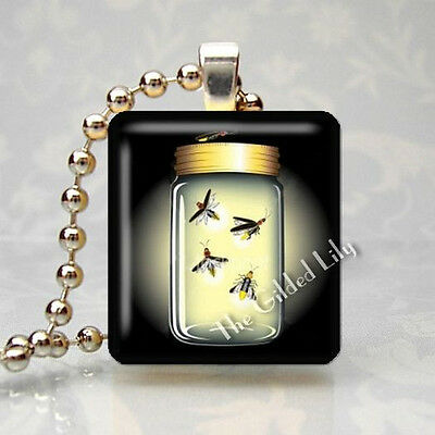 FIREFLY FIREFLIES LIGHTNING BUG INSECT Scrabble Tile Art Pendant Jewelry Charm