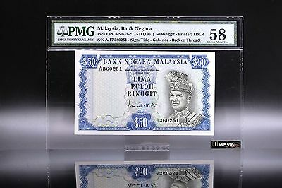 Rare 1967 Malaysia 50 Ringgit 1st Series Banknote PMG 58 P-4b Choice UNC