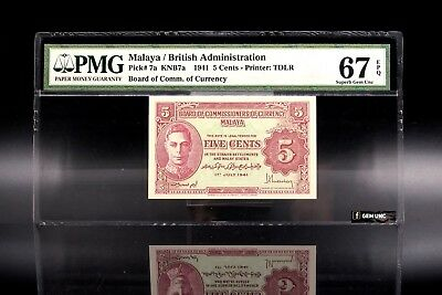 Rare 1941 Malaya King George VI 5 Cents PMG 67 EPQ P-7a Superb Gem UNC