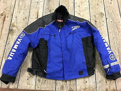 BLUE Team YAMAHA Snowmobile Riding JACKET Mens XL with Leather trim + snap Liner