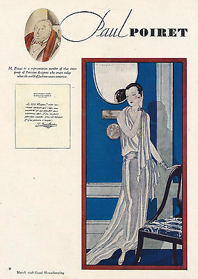 1928 Art Deco Ad Paul Poiret French Fashion Designer Lady Evening Gown Paris