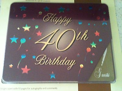Guest Book Happy 40th Birthday (Gold Print)