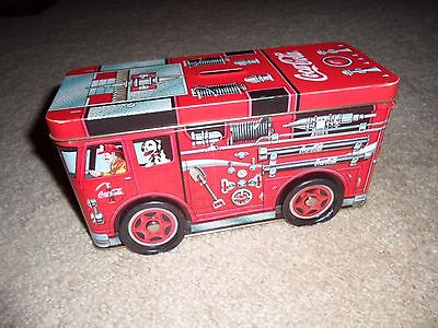 COCA-COLA COKE Tin Firetruck Engine Bank With Real Rolling Wheels