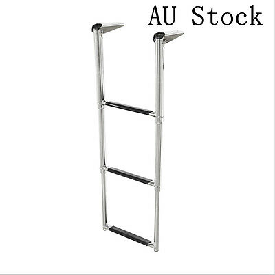 3 Step Telescoping Upper Platform Marine Boat Yachting Ladder Stainless Steel