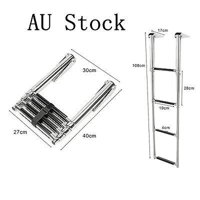 4 Step Telescoping Ladder For Marine Boat Yacht Stainless Steel