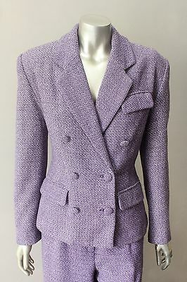 Retro Tweed Vintage 80s Double Breasted Wool Purple 2 Piece Pants Coat Suit Med