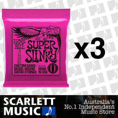 3 x Ernie Ball Super Slinky 9-42 Electric Guitar Strings *SET OF 3 PACKS*