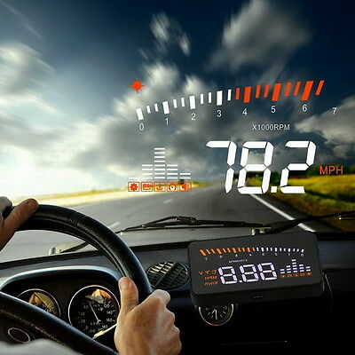 "X5 Car OBDII HUD Head Up Display Projector Speed Warning System Fuel Alarm 3"" LI"