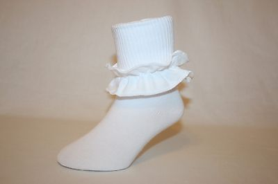 Infant and Girls White Cotton-Nylon-Spandex Bobby Socks with Ruffle