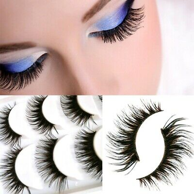 5 Paia Nero Ciglia Finte Manuale Naturali Lungo Intenso Make Up False Eyelashes