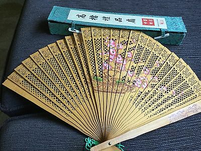 Boxed Chinese ladies folding hand fan NWOT Unwanted gift