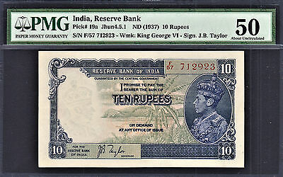 British India 10 Rupees ND (1937) KGVI Pick-19a  About UNC PMG 50