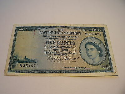 Banknote Government Mauritius 5 Rupees