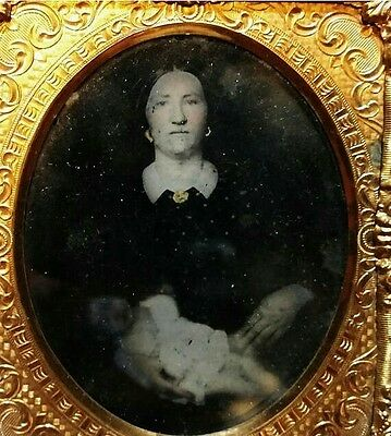 Post Mortem Ambrotype of Mother Holding Child - 1800s Tin Type Vintage Photo