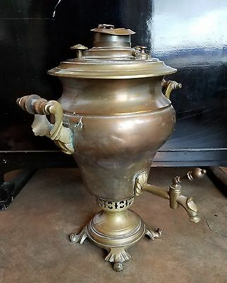 antique USSR Soviet Russia samovar in copper & brass, wooden spigot cock. As is