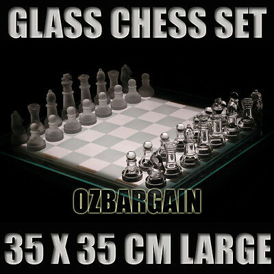 Glass Chess Set Large 35 x 35 Cm Home Office Decor Board Game Games