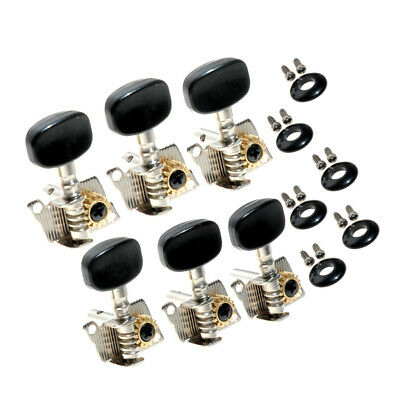 Classical Guitar Tuner Machines Tuning Pegs Keys Heads 6R Chrome Black Opened