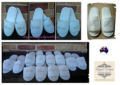 *Quality* Wedding Bride Bridal Party Bridesmaid Personalised Slippers Shoe Gift