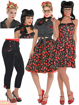 Ladies Rockabilly Costume Accessories Womens 50s Rock n Roll Fancy Dress Outfit