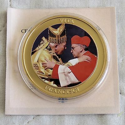 LIFE OF POPE FRANCIS 2013 40mm GOLD PLATED COLOURED PROOF MEDAL c - coa