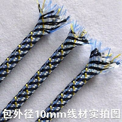 8MM Black&Yellow&White Expandable Braided Sleeving Cable Sleeve Wrap Tubing x 2M