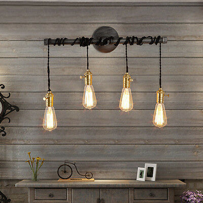 Retro Industrial Vintage Black Hanging Wall Sconce Exposed Loft Wall Light