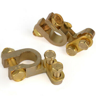 2x 35mm Positive 34mm Negative Gold Plated Universal Car Auto Battery Terminals