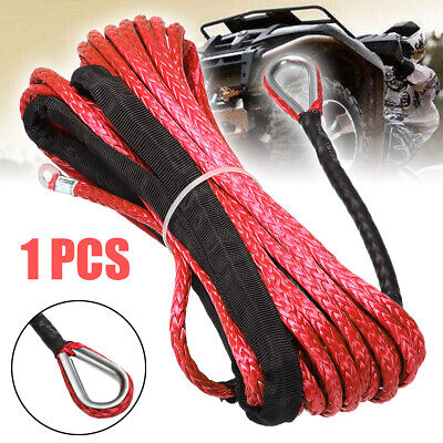 1/4'' x 50' 7000lbs Synthetic Winch Rope Cable Line for ATV UTV Off-Road Red New
