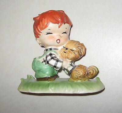 vintage figurine REDHEAD BOY & DOG Gobel hummel CLONE, might be NAPCO ?? JAPAN