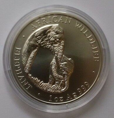 2001 ZAMBIA ELEPHANT,1 OZ BU SILVER W/ 39 mm CAPSULE,VERY RARE, MINT CONDITION