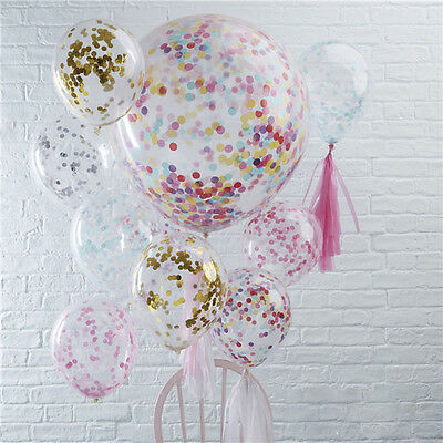 90cm Colorful Balloon Gold White Confetti Party Giant Jumbo Latex Helium 36""